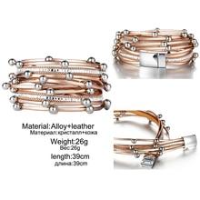 Design Fashion Bead Multiple Layers Charm Bracelet For Women Men Leather Bracelets & Bangle New Femme Party Jewelry Gift