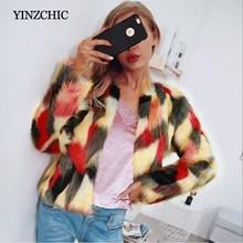 Invierno mujer falso abrigo de piel de manga completa mujer calle piel Artificial prendas colores pelo Regular abrigos mujeres abrigo