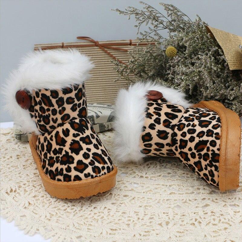 2017 Thick Warm Leopard Girls Shoes Plush Insole Children Boys Snow Boots Kids Shoes Winter Children Girls Boots
