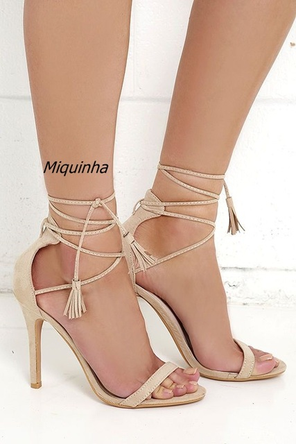 e0d85350bed9 Classy Fringe Open Toe Stiletto Heel Dress Sandals Women Beige PU Leather  Cross Strap Lace Up Sandals DelicateTassel Dress Shoes