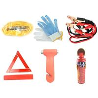 6Pcs Auto Car Vehicle Truck Emergency Rescue Tools Kit First Aid Kit with Safety Hammer Fire Extinguisher Tow Rope Battery Clamp