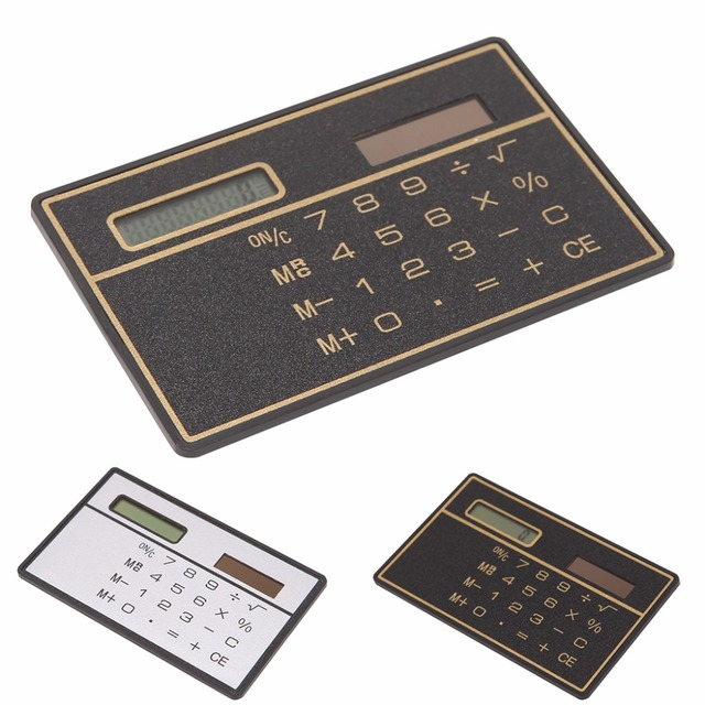 New Ultra Thin Mini Credit Card Sized 8 Digit Solar Ed Pocket Calculator