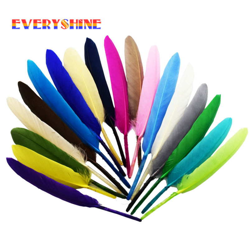 24pcs/lot Colorful Dyeing Goose Feathers Wings for Craft DIY Jewelry Earring Indian Headdress Party Decorations Plume IF55