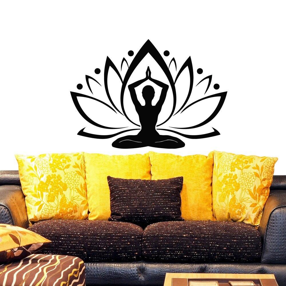Bescheiden Yoga Lotus Muurtattoo Vinyl Sticker Yoga Lotus Bloem Boho Bohemian Decor