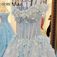 CloverBridal Лодка декольте кружево цветы аппликации Кристаллы beadings костей Иллюзия лиф 100 см поезд синий торжественное платье