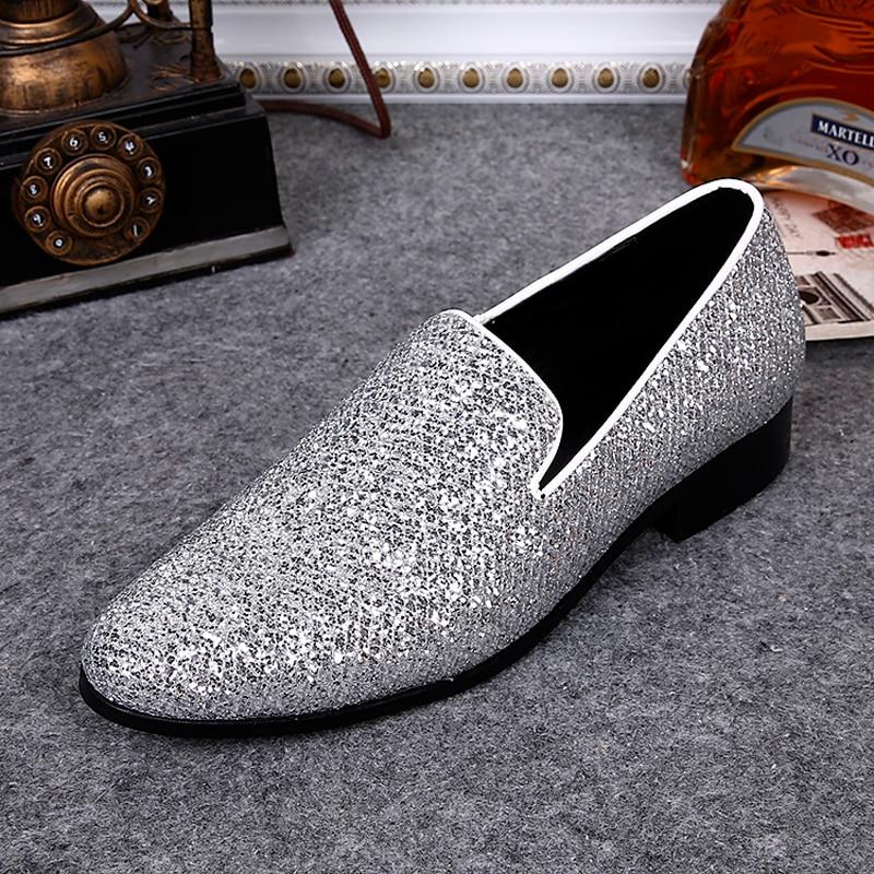 Casual Respirant Cuir Bout Appartements Chaussures Show Rond Slip Mocassins Size46 Style Plus Nouveau En Mode Hommes As Homme Bling on Britannique Argent cL3qS4A5Rj