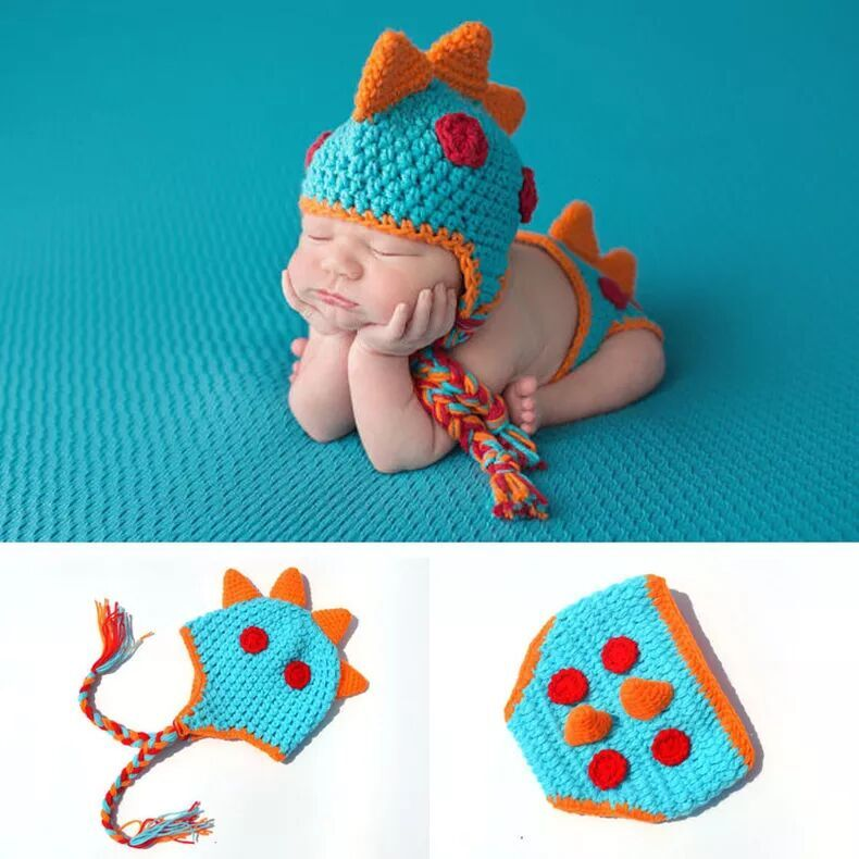 Handmade Crochet Baby Hat and Diaper Cover Newborn Photography Props Dinosaur Beanie with Shorts Knitted Fotografia Costume