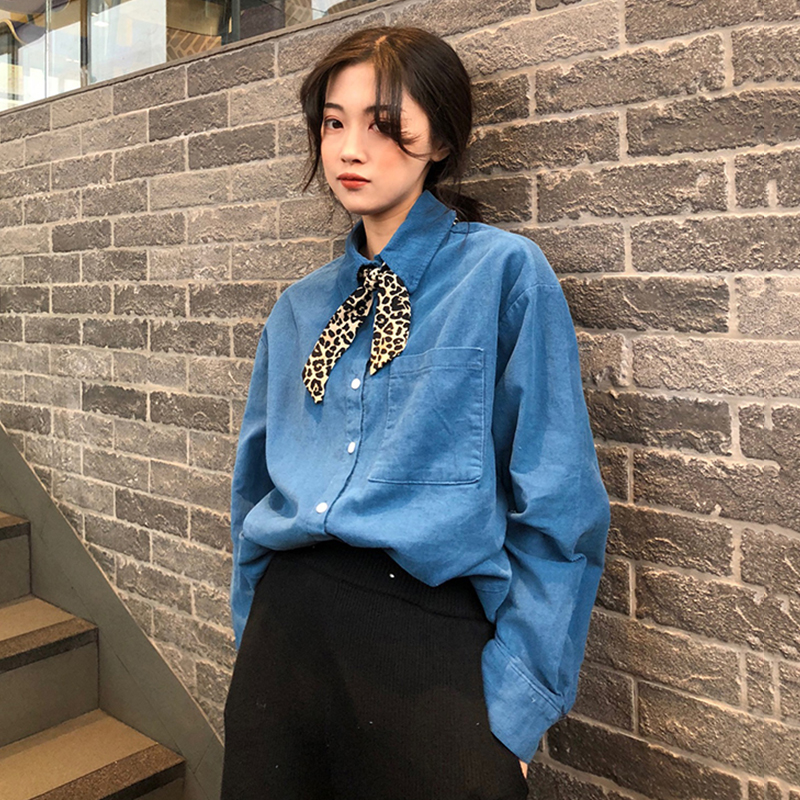 Women Temperament Loose Blouse Shirt Female Autumn Winter Leopard Ribbon Bow Tie Chic Shirts Harajuku Bottoming Tops