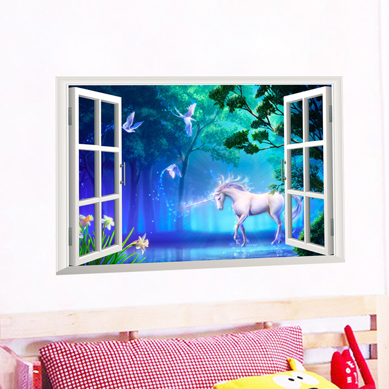Unicorn Wall Stickers Horse Head 3D Window Wall Mural Art Decal For Kids Room PVC Living Room Home Decoration Accessories Poster in Wall Stickers from Home Garden