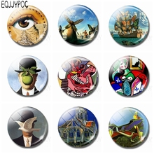 Surrealist Art Painting Glass 30 MM Fridge Magnet Picasso Magritte Max Ernst Salvador Dali Magnetic Refrigerator Sticker