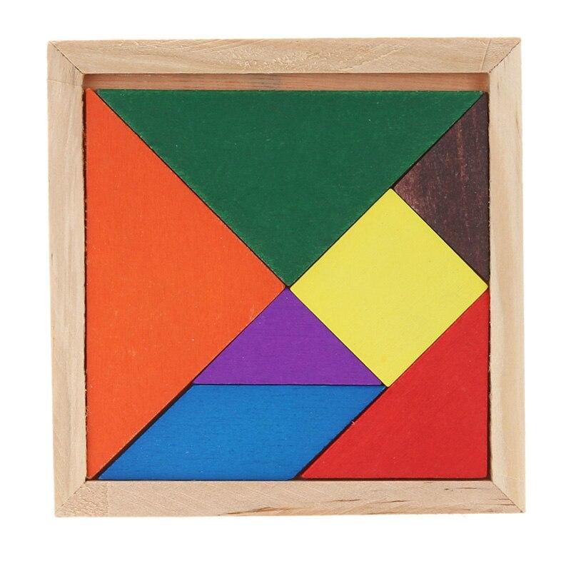 Wooden Tangram Puzzle DIY Hand Made Brain Teaser Puzzle Educational Developmental Kids Children Wooden Toy