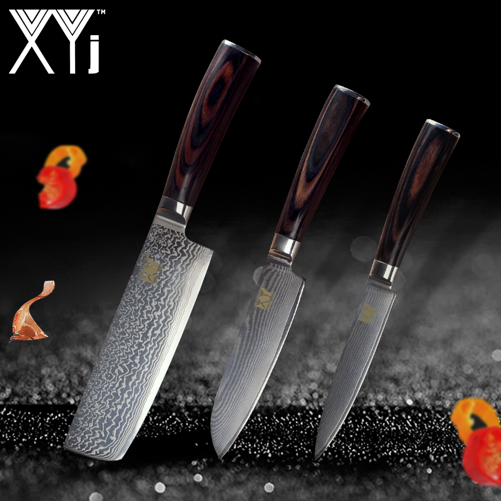 XYj Set Accessori Da Cucina Coltello Da Cucina di Damasco Coltelli VG10 Nuovo Arrivo 2019 Acciaio di Damasco Giapponese Utensili Da Cucina