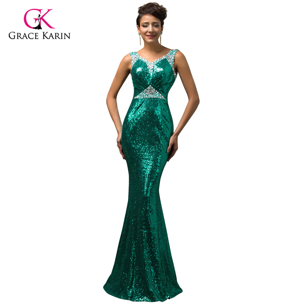 Grace Karin Gold Mermaid Evening Dress 2018 Luxury Red Blue Silver ...