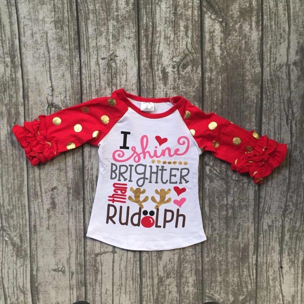 new children Christmas raglans baby girls I shine brighter rudolph raglans top shirts t-shirt red gold dot sleeve kids wear