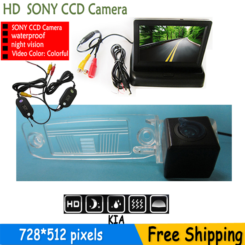 car-styling Auto Parking SONY HD CCD Car Rear View Camera With 4.3 inch Car Rearview Mirror <font><b>Monitor</b></font> <font><b>For</b></font> <font><b>KIA</b></font> Sportage R 2010-2014