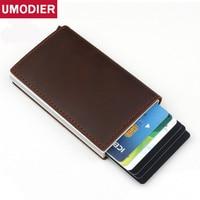 Men Crazy Horse Genuine Leather Wallet Aluminum RFID Blocking Credit Card Holder Slim Mini Automatic Pop up Magic Travel Wallets