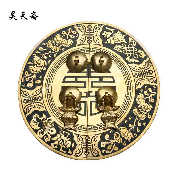 [Haotian vegetarian] bronze Chinese antique Ming and Qing furniture, copper door handle HTB-034 [haotian] bronze fast new chinese antique furniture ming and qing copper door handle lock sheet four seasons peace subsection