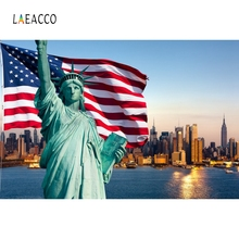 Laeacco Backdrop For Photographic Studio American Independence Day Statue Of Liberty Night City Background Photocall Printed liberty city console table walnut