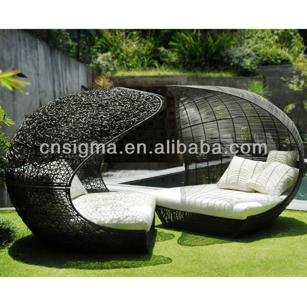 Design Furniture Pe Rattan Synthetic Wicker Daybed Outdoor Sun