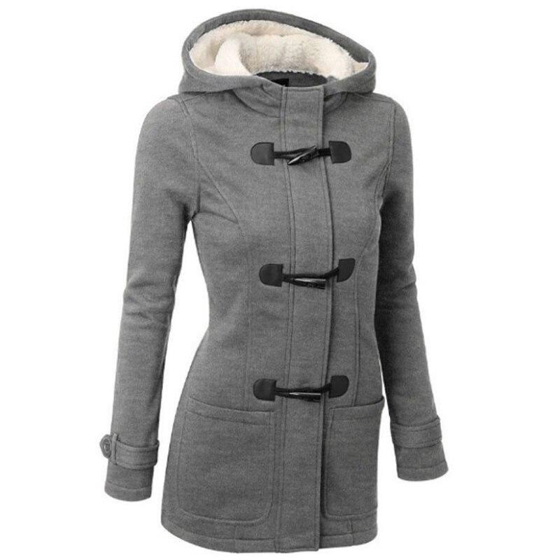Winter   Trench   Coat Women 2018 Spring Autumn Women's Overcoat Female Long Hooded Coat Zipper Horn Button Outwear Kaban Icebear
