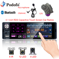 Podofo 1 din Car Radio 4.1 Inch Touch Screen Autoradio Bluetooth Car Stereo Multimedia MP5 Player RDS FM USB Support Micprohone