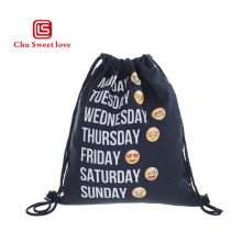 New Fashion 3D Digital Printing Oxford Cloth Drawstring Pocket Funny Expression Shopping Bags Women