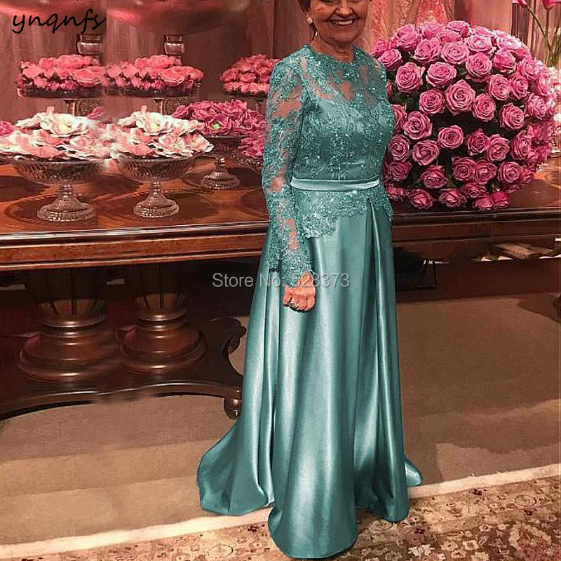 YNQNFS MD213 Fall Winter Elegante Lace Long Sleeve Mother Of The Bride Dresses Groom Outfits Turquoise Custom Made 2019