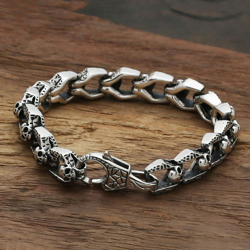 silver bangles bangle curb chunky mens heavy bracelet