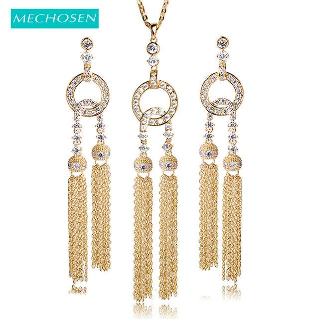 MECHOSEN Luxury Long Tassel Jewelry Sets Necklace Earrings For Women  Wedding Decorations Accessories Full Zirconia Colar Brinco c33fc8202a4f
