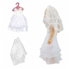 Doll Cloth White Lace Wedding Dress+Veil  For 18 inch Generation American Doll Gift for Girls Doll Accessories Free Shipping цены
