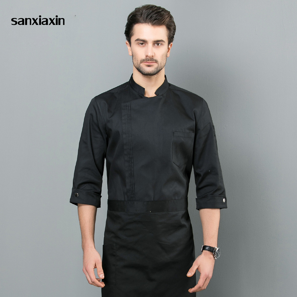 Sanxiaxin Food Service Kitchen Work Jackets Restaurant Chef Uniforms Sushi Bakery Cafe Waiter Catering Black White Coat Aprons