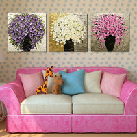 3 Panel Pictures Modern Knife Floral Paintings Sets Handpainted Abstract Flowers Oil Painting On Canvas Home
