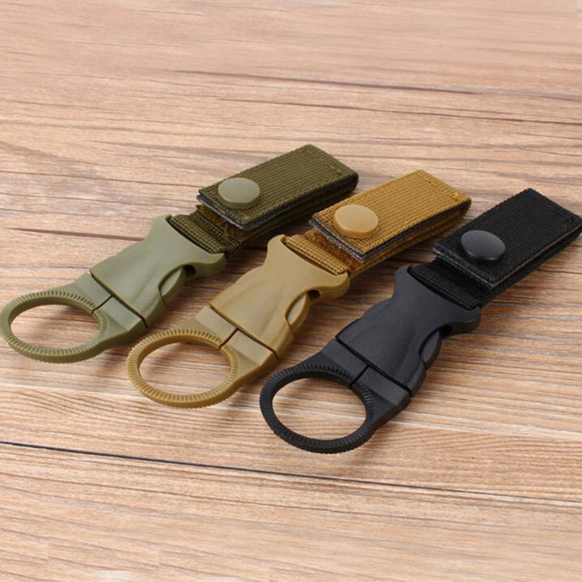 Hot Sell Outdoor military Nylon Webbing Buckle Hook Water Bottle Holder Clip EDC Climb Carabiner Belt Backpack Hanger Camp