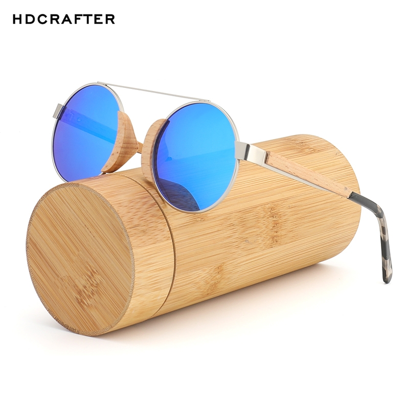 2bc1be5fff7 HDCRAFTER Round Wood Sunglasses Polarized Handmade Bamboo Sun Glasses for  Women 100% UV Protection Sunglass-in Sunglasses from Apparel Accessories on  ...