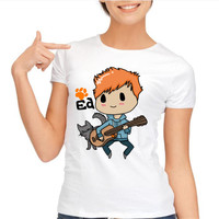 ED SHEERAN Letters Print Women T Shirt Funny Cotton Casual Shirt For Lady White Top Tee
