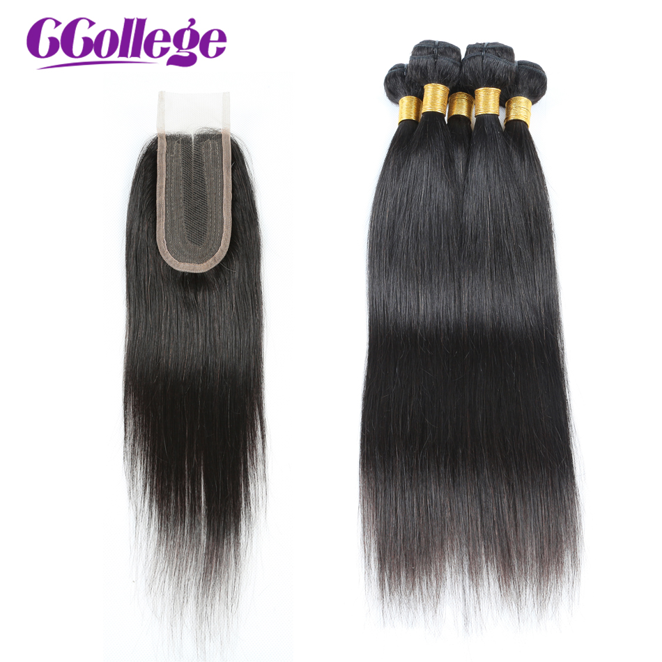 CCollege 100 Human Hair Bundles With Closure Brazilian Hair Weave 3 Bundles Straight Hair With Lace
