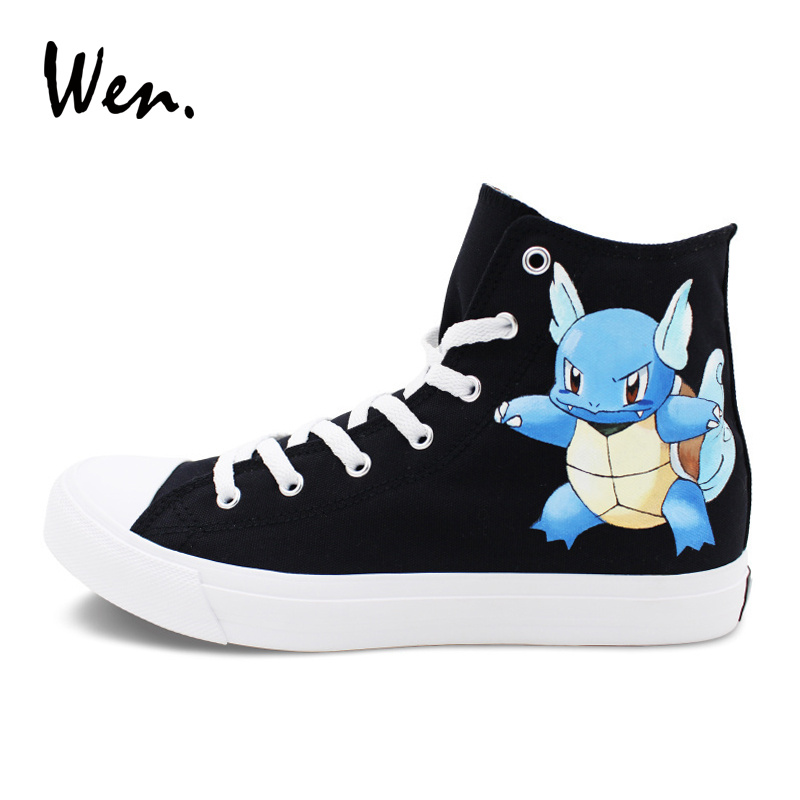 цена Wen Black Sneakers Hand Painted Anime Shoes Pokemon Wartortle Turtle Design Pocket Monster High Top Skateboarding Shoes