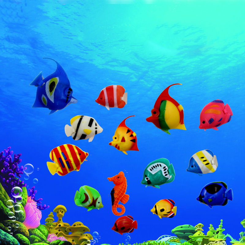 10 pcs plastic fake fish floating artificial fish small for Small tropical fish