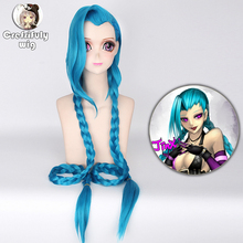 League of Legends LOL Jinx Cosplay Wigs For Women Blue Double Ponytail Braids Girls Long Hair 120cm For Halloween Party 2015 new hot sell lol new hero jinx 100cm long blue braid cosplay party hair wig free shipping