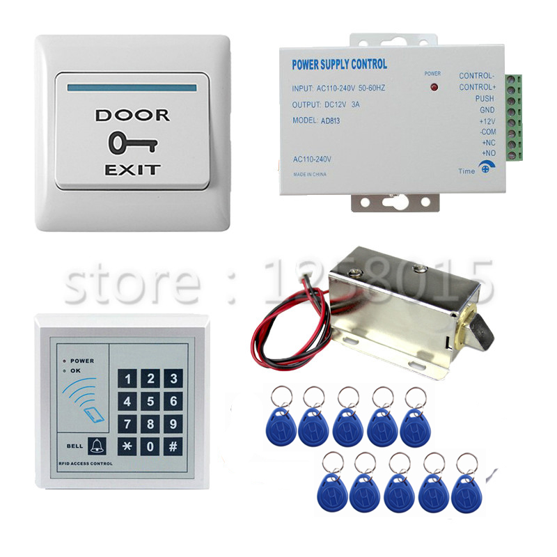 RFID//125KHz ID Card Keyfobs Access Control Kit /& Electric Bolt Door Lock DIY