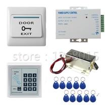 DIY 125 КГц RFID белый Контроллер Контроля Доступа Комплект для 1 двери контроля доступа + мини замок + дверной выключатель + питание + 10 брелок