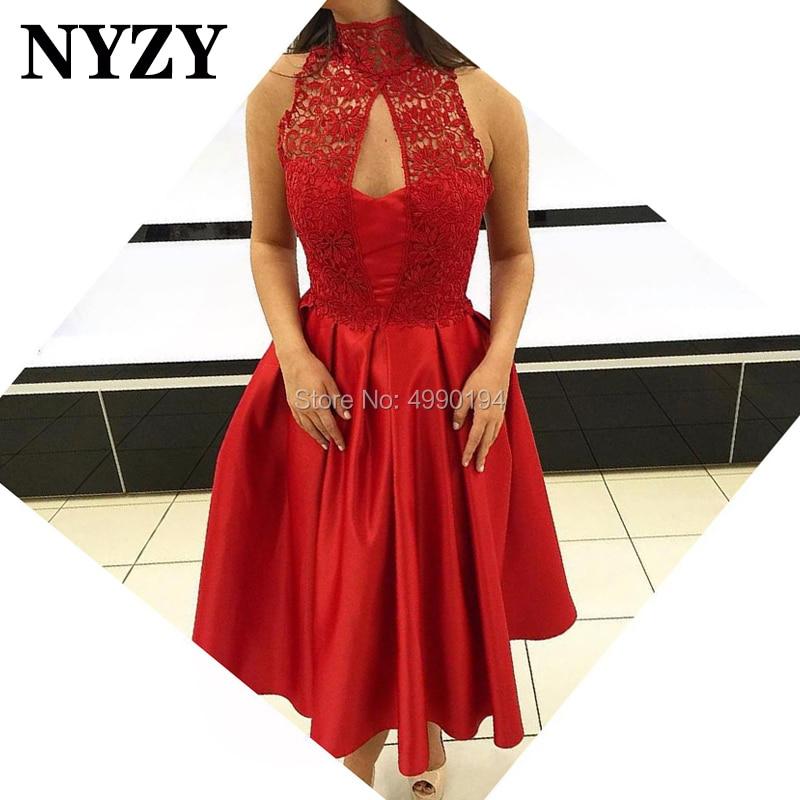 NYZY C116 Red High Neck Tea Length Satin   Dress   Party   Cocktail   Short Formal   Dress   robe de soiree courte 2019