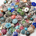 50pcs/lot High Quality Mix Many Rhinestone Styles Metal Charm 18mm Snap Button Bracelet For women Rivca DIY Snap Button Jewelry