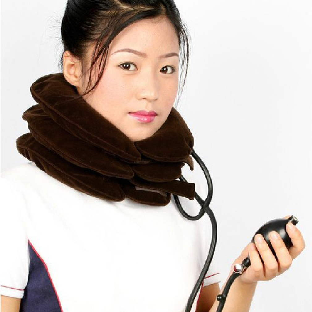 Hot 1pc High Quality Air Cervical Neck Traction Soft Brace Device Unit for Headache Head Back Shoulder Neck Pain Health Care NO1 good gift for your family home use over door cervical traction set for fast and easy to relieve neck shoulder pain