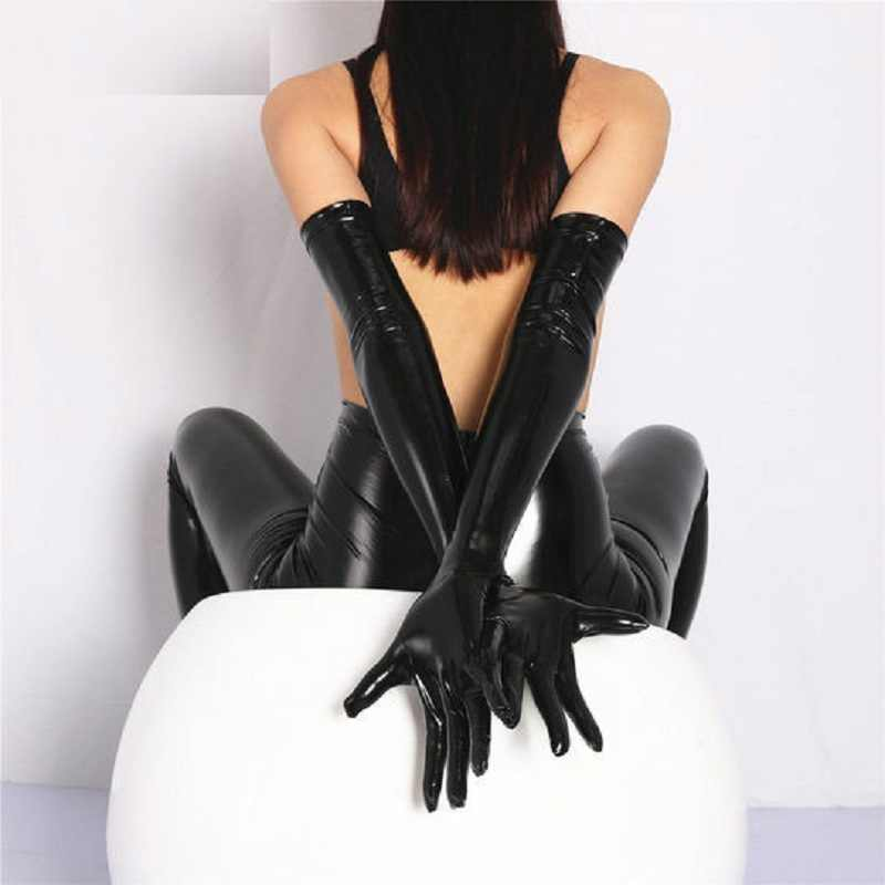 Sexy PVC brillant gant Latex Faux cuir gant Long Punk gants Sexy Hip-pop Jazz tenue mitaines Cosplay Costumes accessoire F33