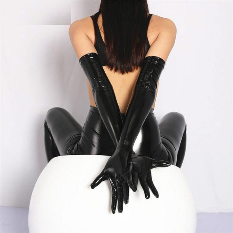 Sexy PVC Shiny Glove Latex Faux Leather Long Glove Punk Gloves Sexy Hip-pop Jazz Outfit Mittens Cosplay Costumes Accessory F33