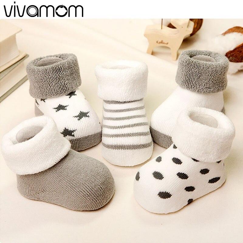 vivamom Brand 5 Pairs font b baby b font socks newborns Winter Cotton thickening Unisex Short