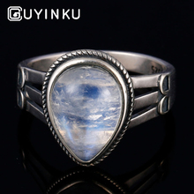 GUYINKU Elegant Water Drop Natural Moonstone Rings Genuine 925 Sterling Silver Engagement Jewelry For Women Fine
