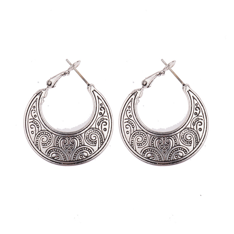 2017 New Silver/Gold Fine Jewelry Ethnic Style Moon Shaped Earrings Boho Earrings Tribal Patterns Drop Earrings HQE276