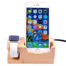 USB Bamboo Wood Charger Station for Apple Watch Charging Dock Station Charger Stand Holder for iPhone 8 Dock Stand Cradle Holder